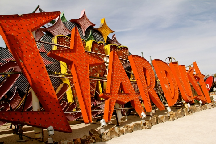 "The Stardust sign's font is ""Atomic"" embracing the spirit of the age, it was meant to resemble the mushroom cloud of atomic tests."